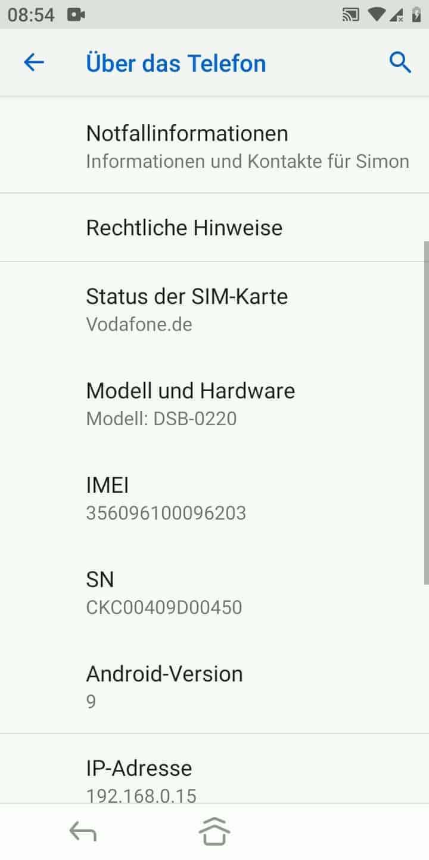 Schritt 4: Hier finden wir beispielsweise die IMEI oder Android-Version
