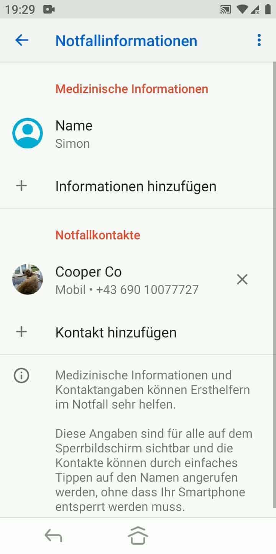 Schritt 6: Für weitere Notfallkontakte tippe erneut auf Kontakt hinzufügen