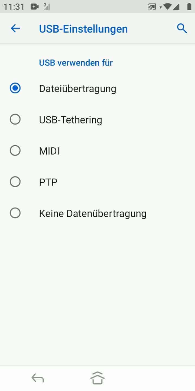 Schritt 4: Wähle eine Option bspw. Dateiübertragung