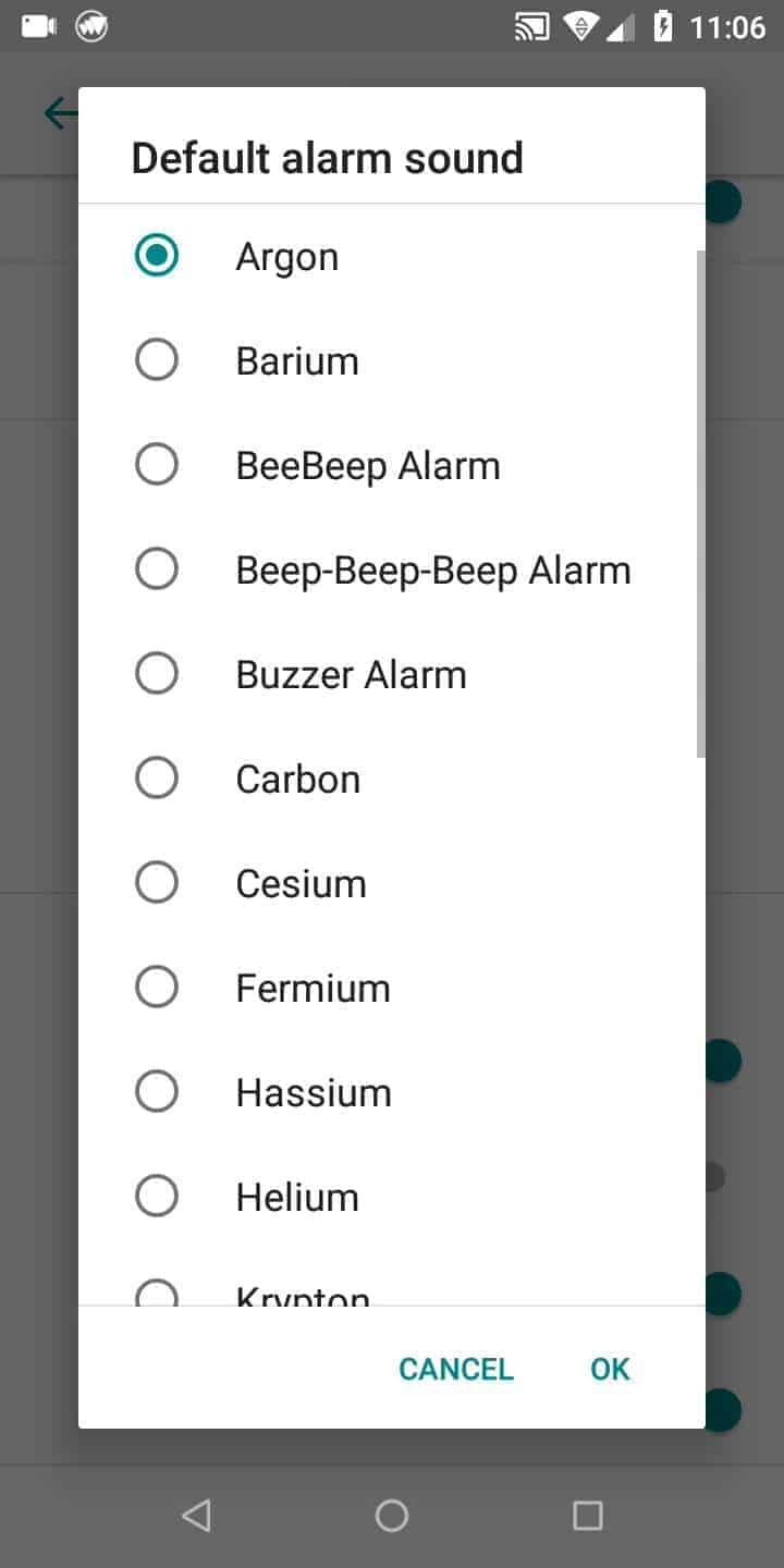 Step 5: Choose an alarm sound and confirm with OK