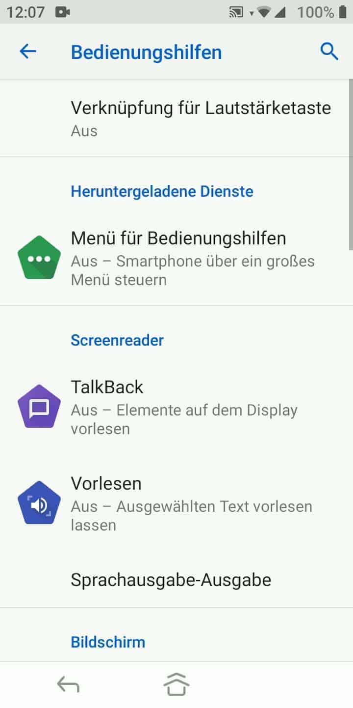 Schritt 3: Tippe auf TalkBack