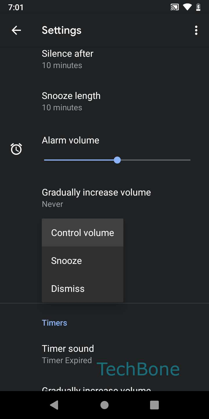 Step 5: Choose Control volume, Snooze or Dismiss