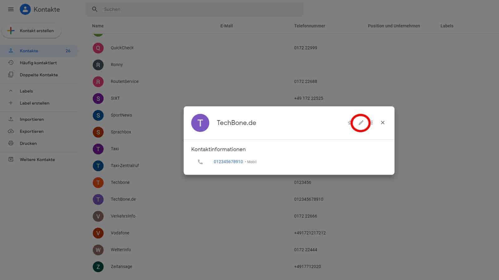 Bearbeiten eines Kontaktes über das Google-Konto