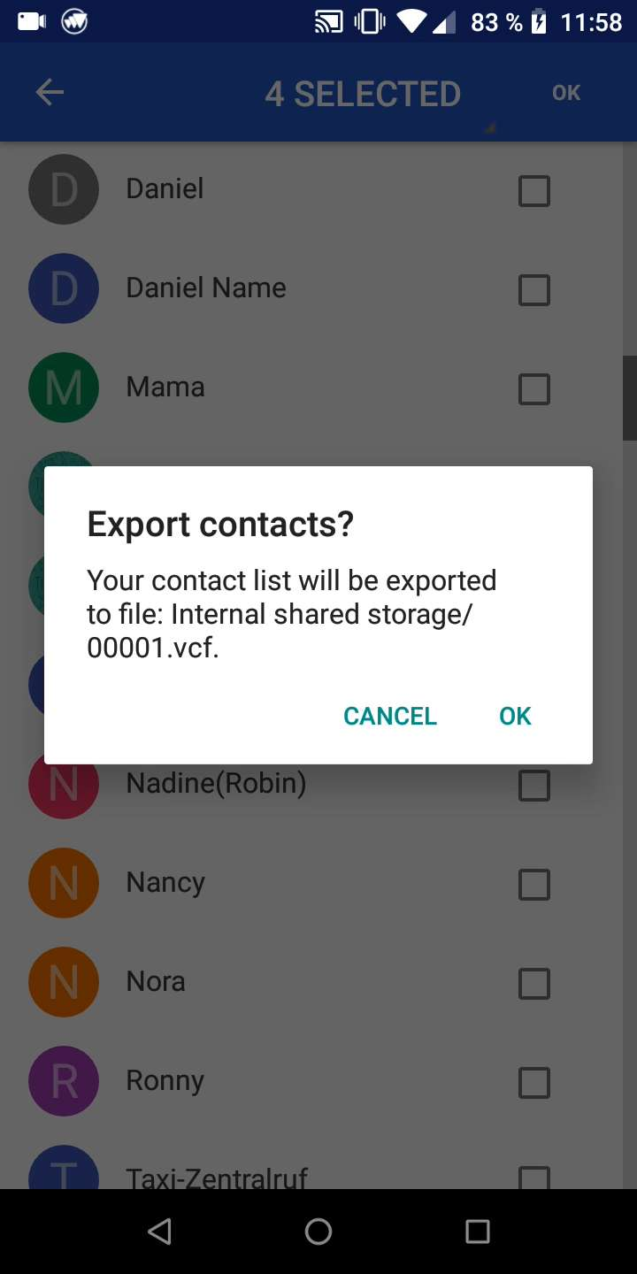 Export contacts - Android 8 | TechBone