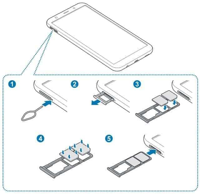 Anleitung wie eine oder mehrere SIM-Karten in das Samsung Galaxy A7 2018 eingelegt werden können