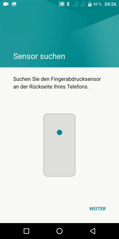 Schritt 9: Tippe mit dem Finger auf den Fingerabdrucksensor