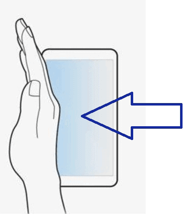 This picture shows how to move the hand-sides over the device to take a screenshot