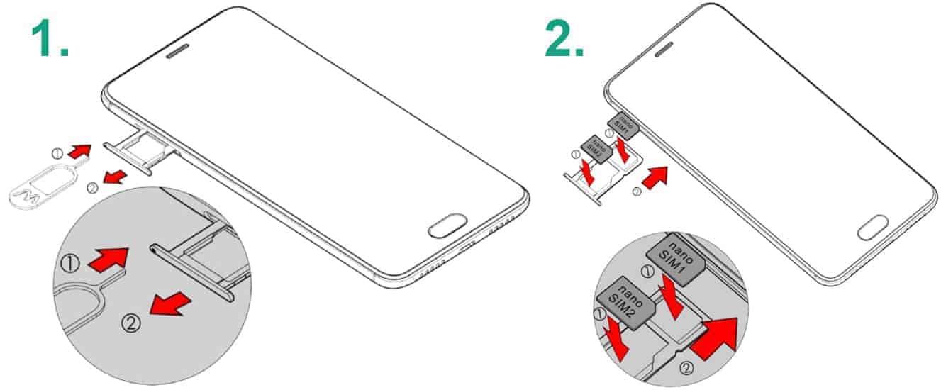 Anleitung wie eine SIM-Karte seitlich in ein Smartphone eingelegt wird.