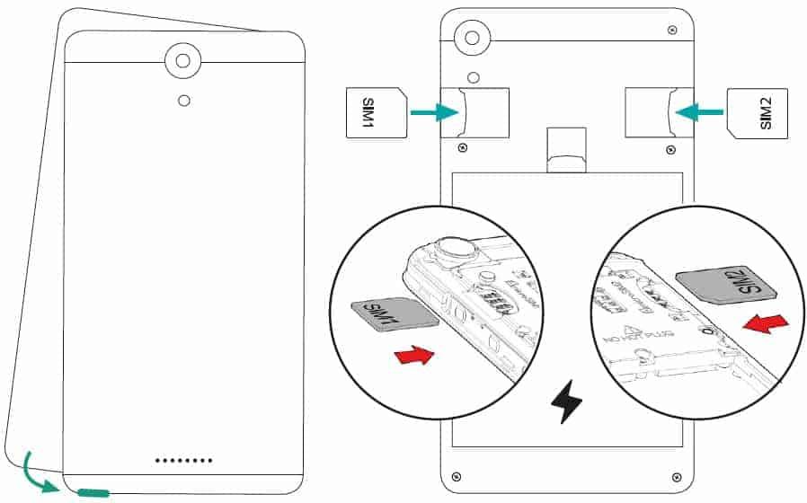 Anleitung wie man ein Smartphone öffnen kann und die SIM-Karten einlegt