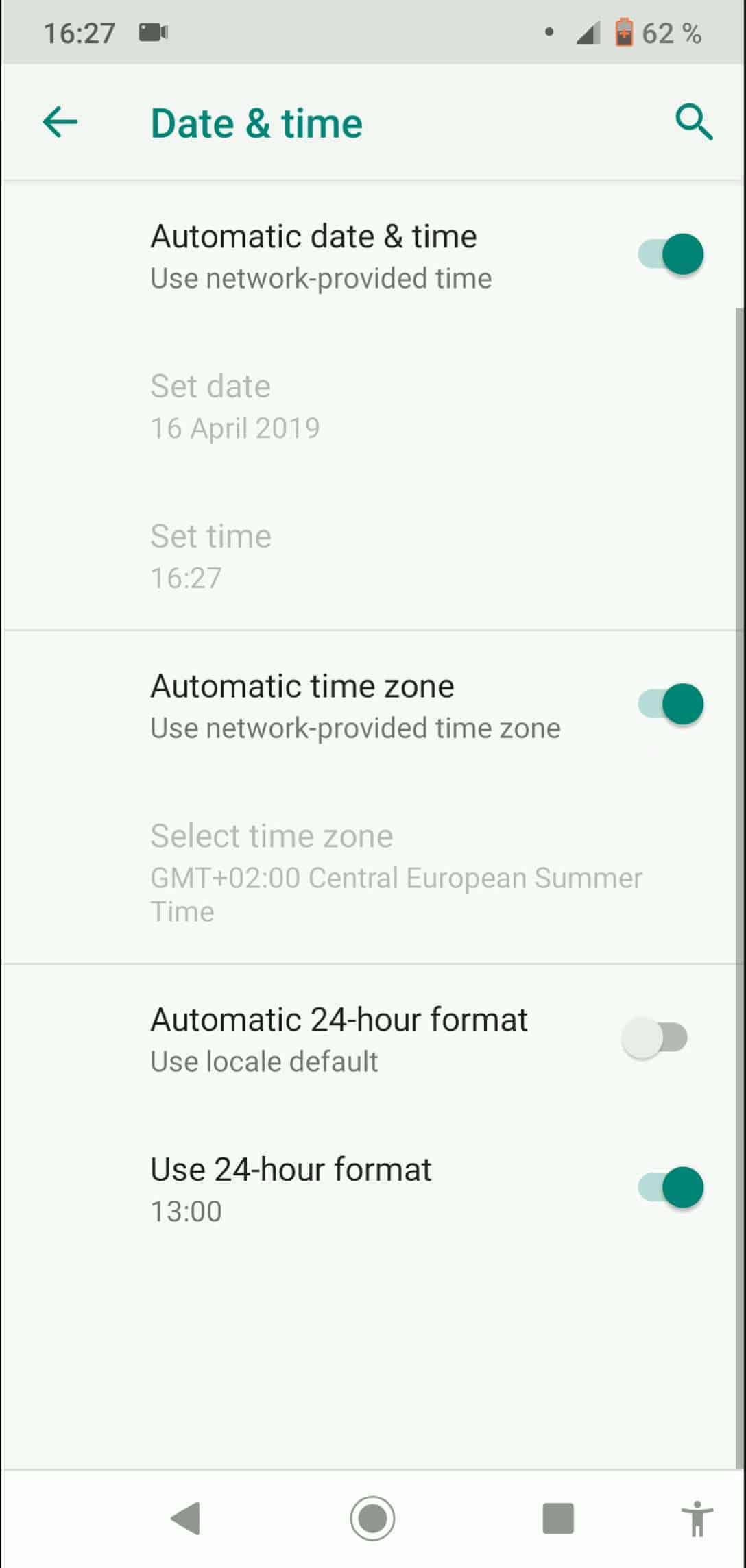 Step 4: Activate or deactivate Automatic time zone