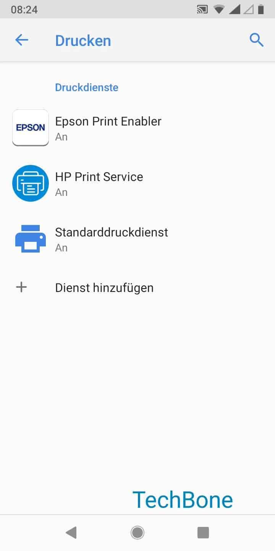 Schritt 5: Tippe auf Standarddruckdienst