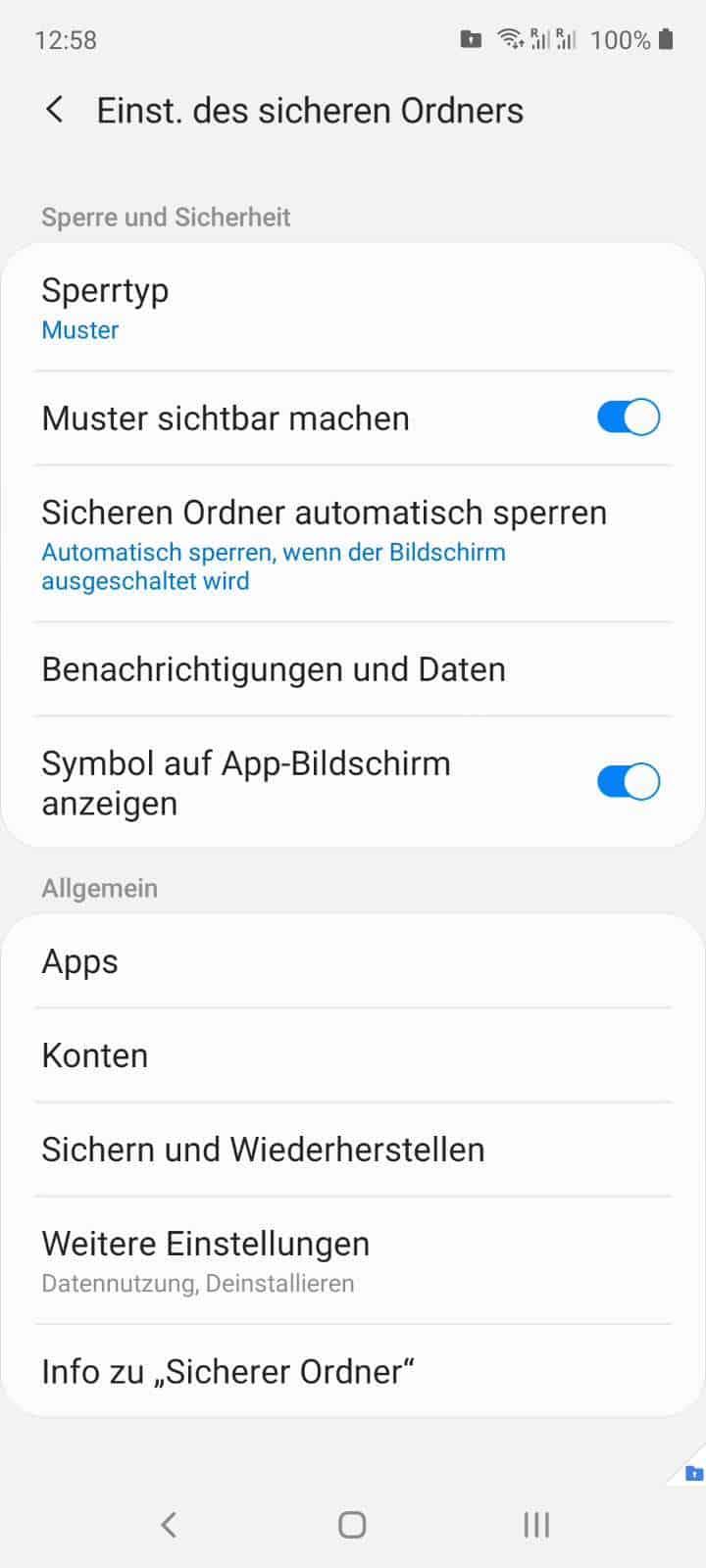Sicherer Ordner Automatisch Sperren Samsung Handbuch Techbone