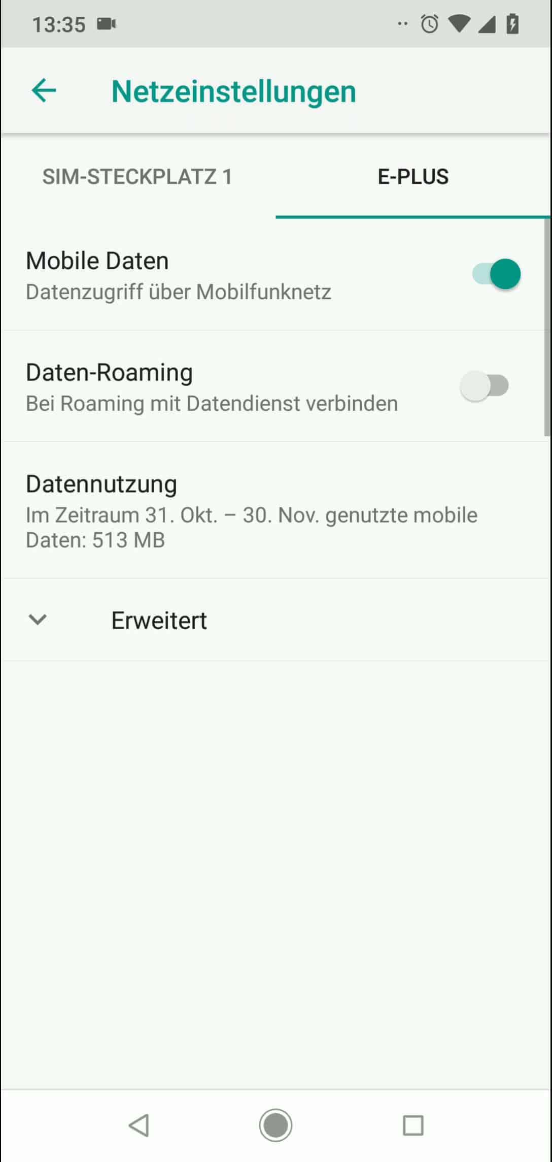 Schritt 5: Aktiviere Daten-Roaming