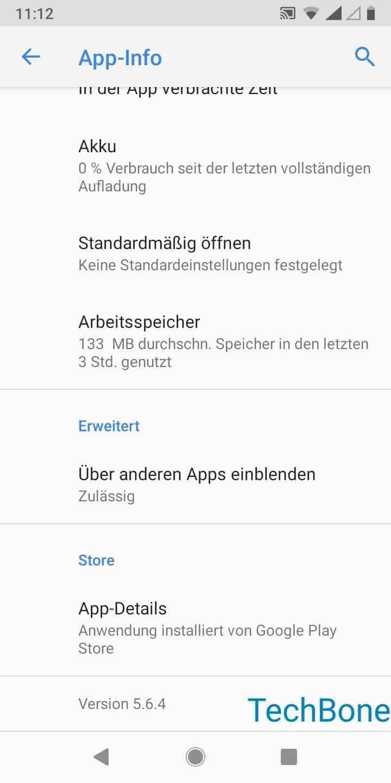 Schritt 6: Tippe auf Über andere Apps einblenden