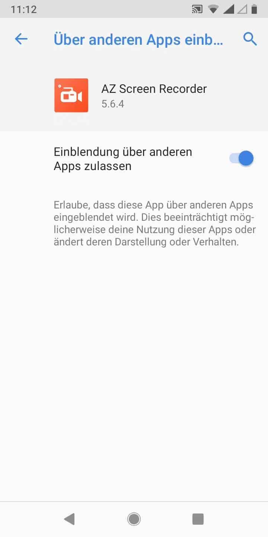 Schritt 7: Aktiviere oder deaktiviere Einblendung über anderen Apps zulassen