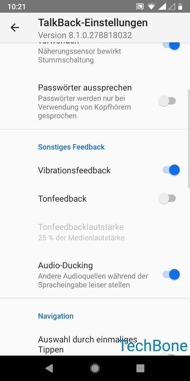 Schritt 5: Aktiviere oder deaktiviere das Vibrations- bzw. Ton-Feedback oder Audio-Ducking