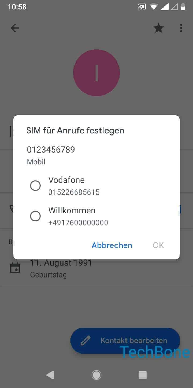 Schritt 5: Wähle eine SIM-Karte und tippe auf OK