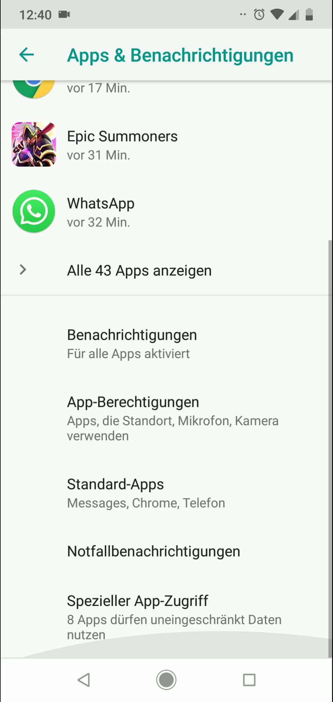 Schritt 3: Tippe auf Standard-Apps