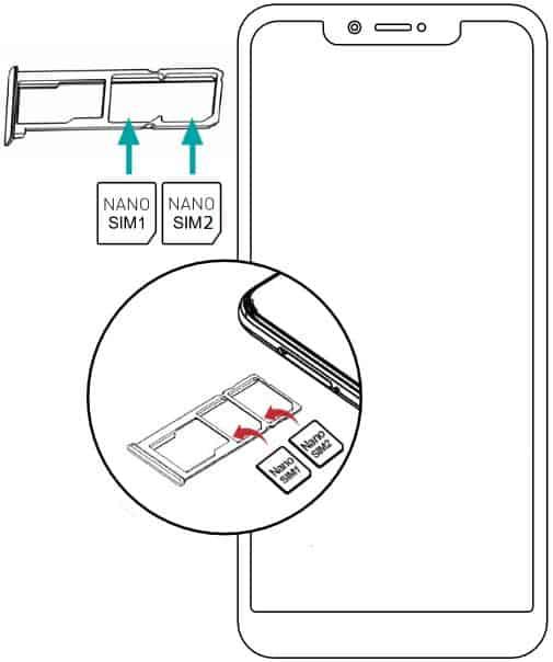 Abbildung wie man beim Wiko View 2 Plus/Pro/Go die SIM-Karte oder Speicherkarte einlegen kann