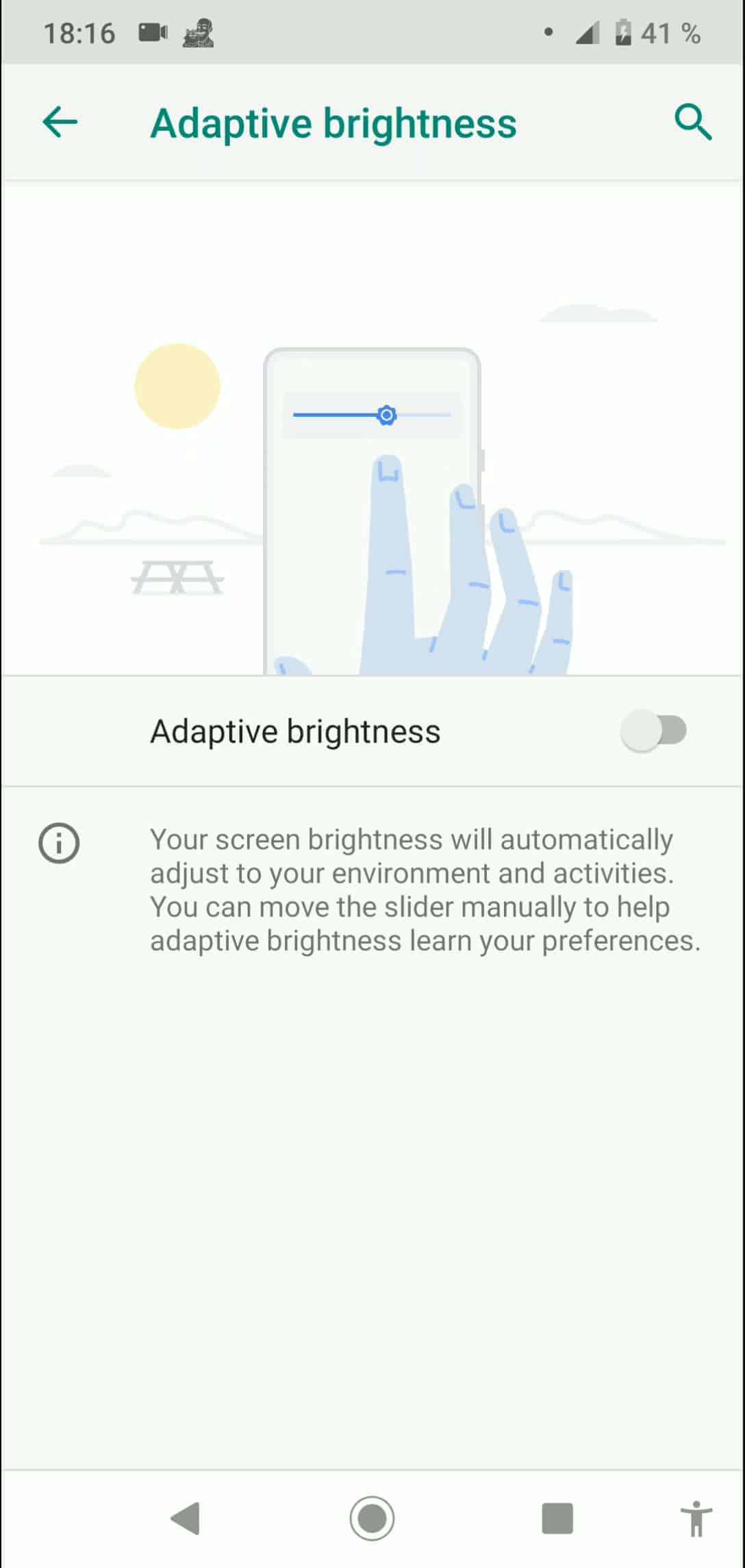 Step 4: Activate or deactivate Adaptive brightness
