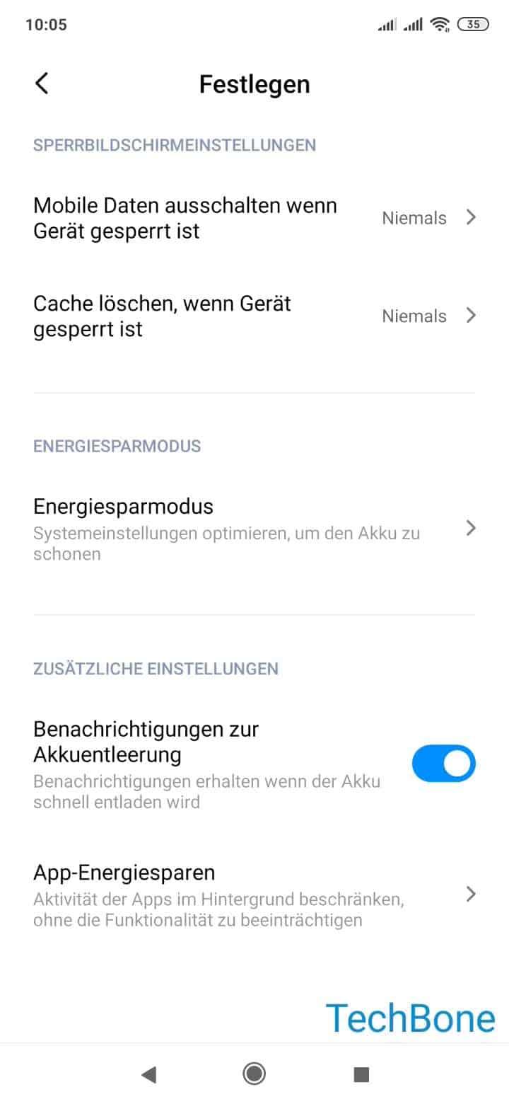 Schritt 4: Tippe auf Mobile Daten ausschalten, wenn Gerät gesperrt ist