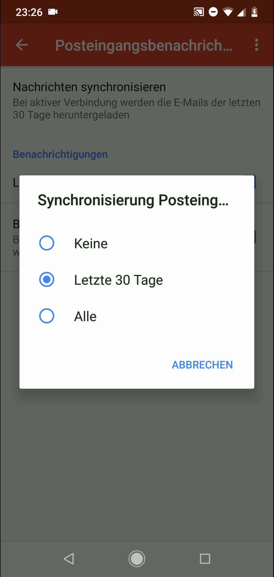Schritt 7: Wähle aus wie der Posteingang synchronisiert werden soll