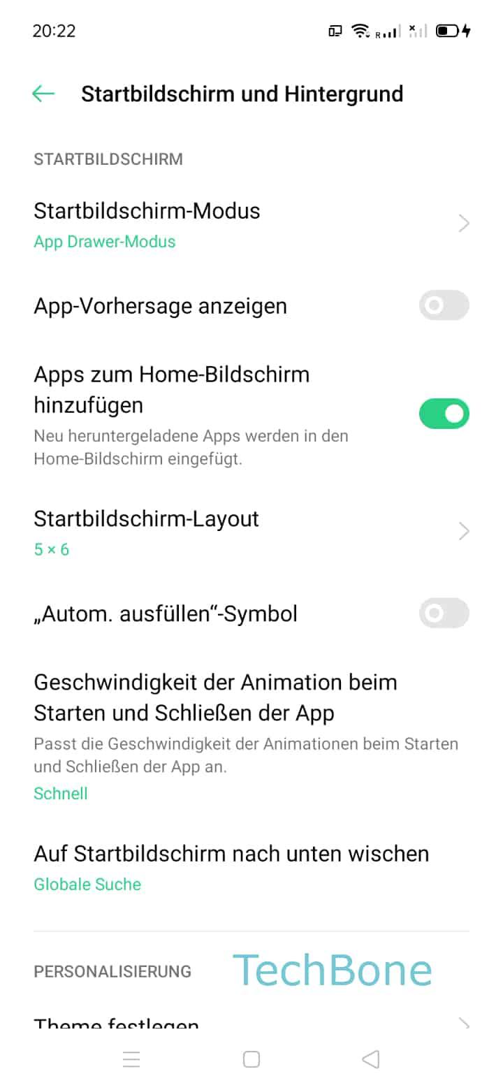 Schritt 3: Tippe auf Startbildschirm-Modus
