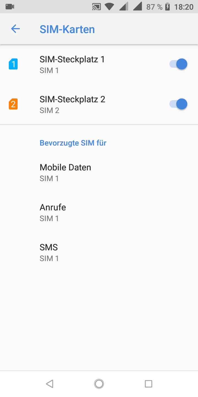 Schritt 4: Wähle die bevorzugte SIM für Mobile Daten, Anrufe, oder SMS