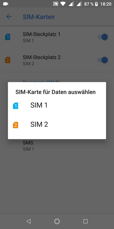 Schritt 5: Wähle die gewünschte SIM-Karte