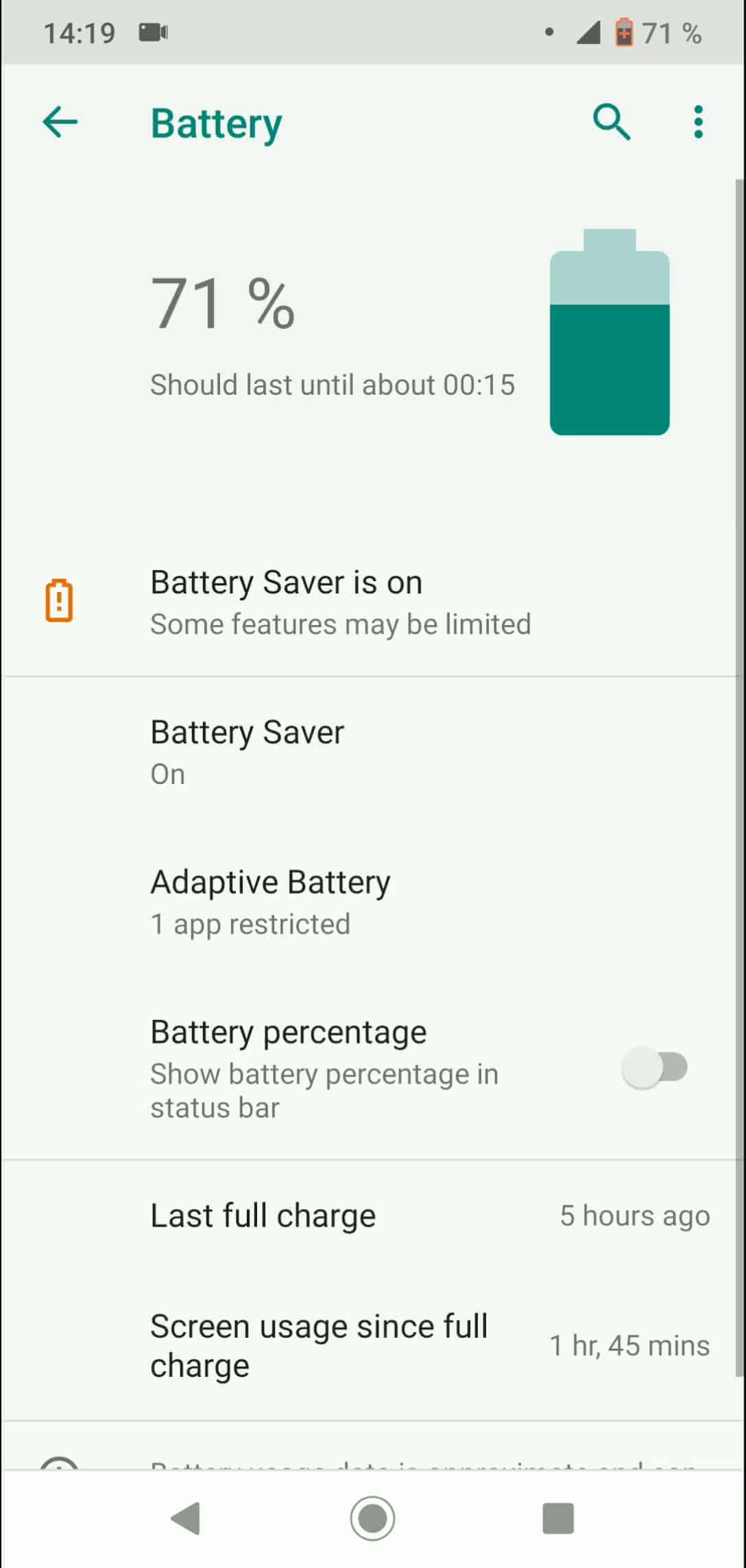Step 3: Tap on Adaptive Battery