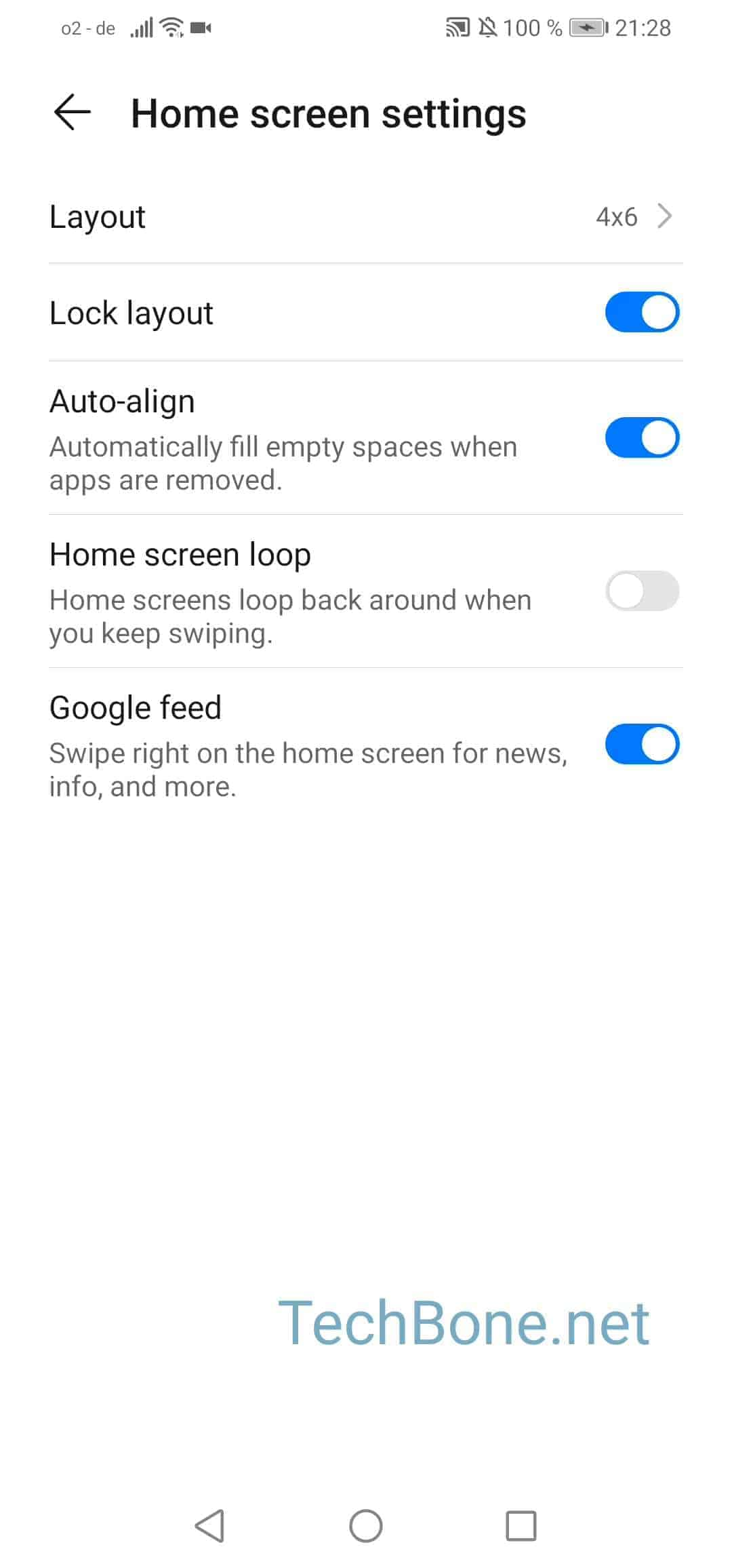 Step 4: Activate or deactivate Home screen loop
