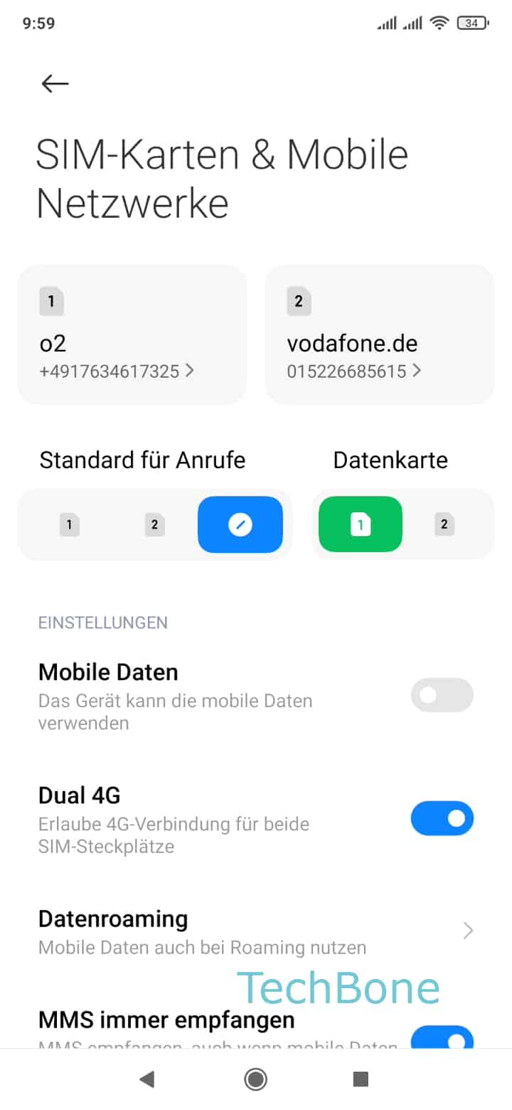 Schritt 3: Wähle eine SIM-Karte (Dual SIM)