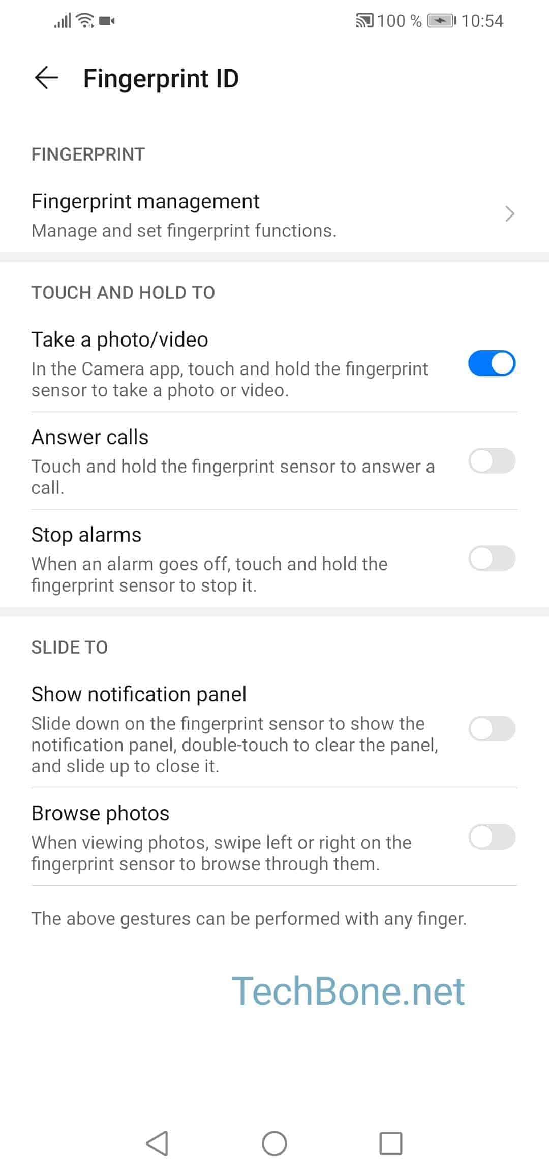 Step 4: Tap on Fingerprint management
