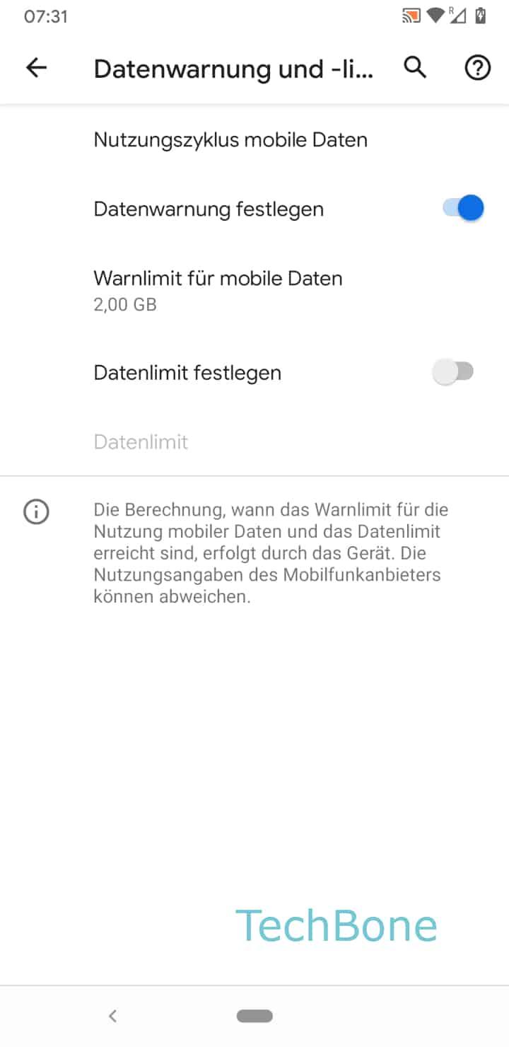 Schritt 5: Tippe auf Nutzungszyklus mobile Daten
