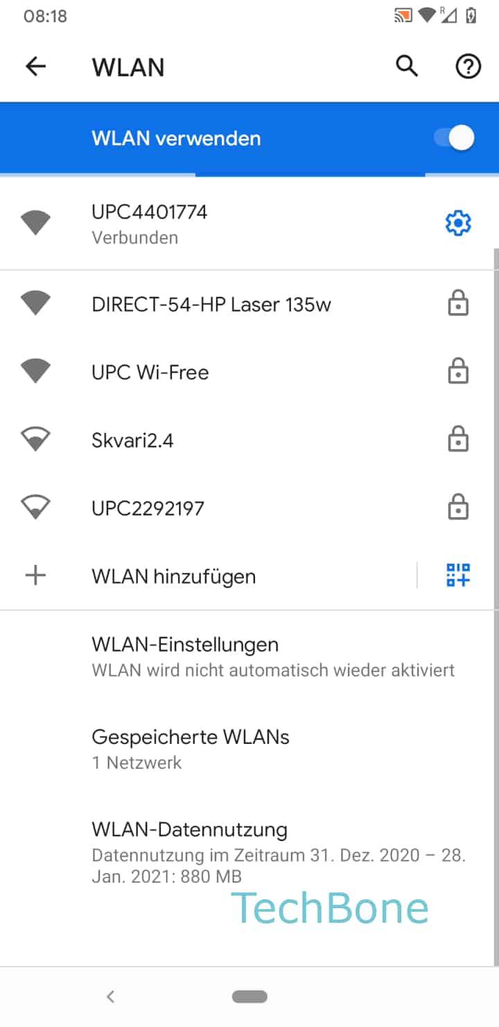 Schritt 4: Tippe auf die WLAN-Verbindung