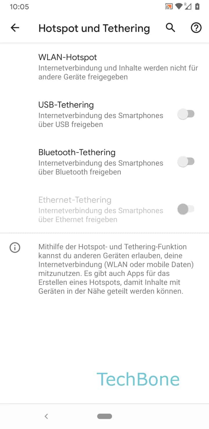 Schritt 4: Aktiviere oder Deaktiviere Bluetooth-Tethering