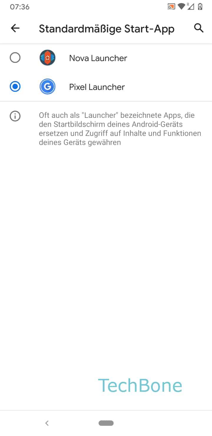 Schritt 6: Wähle die gewünschte Start-App