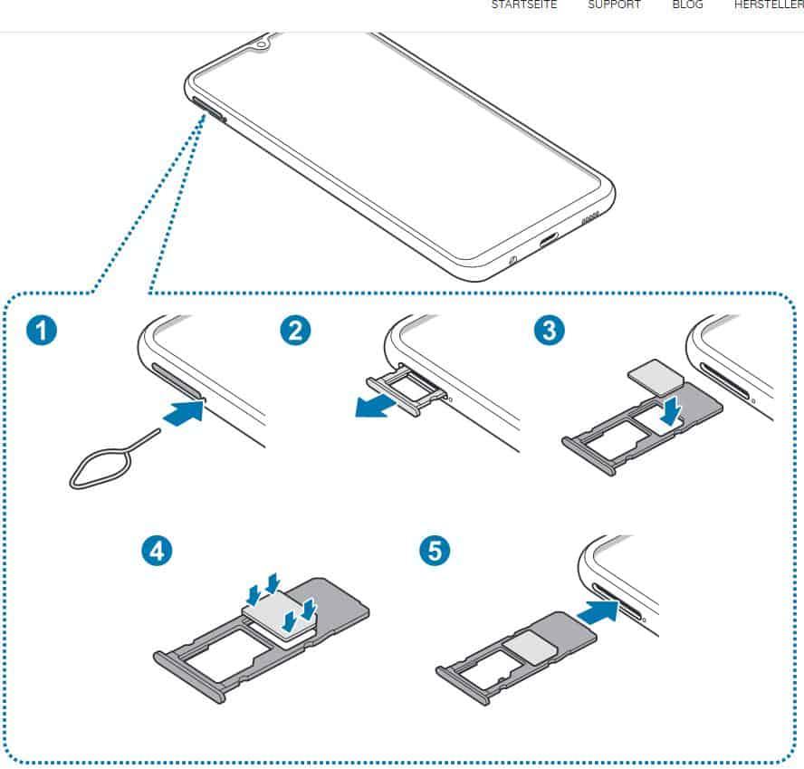 Anleitung wie man eine SIM-Karte und Speicherkarte beim Samsung Galaxy A50 einlegt