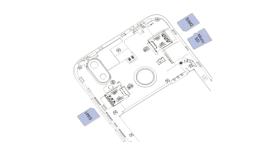 Anleitung wie man die SIM-Karte oder Speicherkarte beim Cubot R19 einlegen kann
