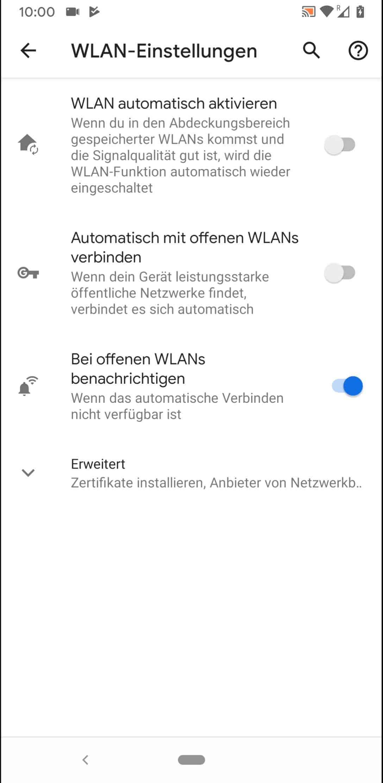 Schritt 5: Aktiviere oder deaktiviere Automatisch mit offenen WLANs verbinden
