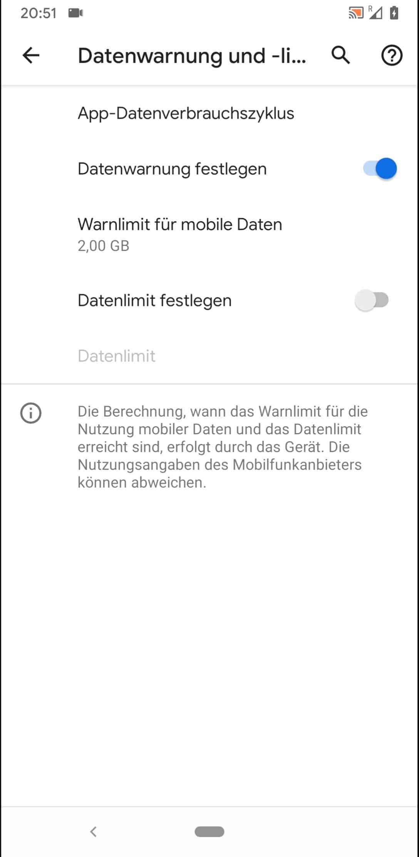 Schritt 5: Tippe auf Warnlimit für mobile Daten