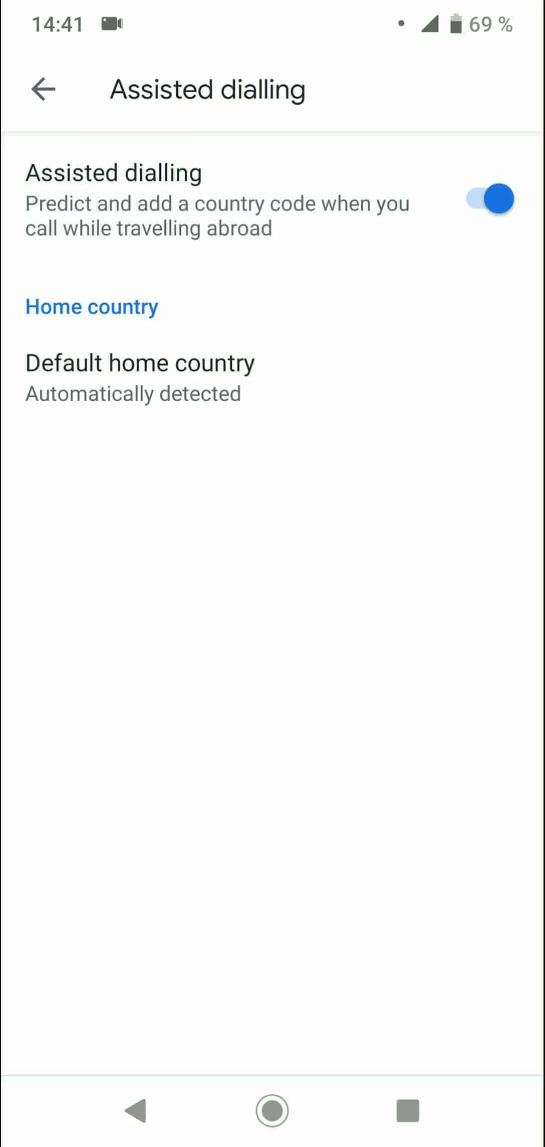 Step 5: Tap on Default home country