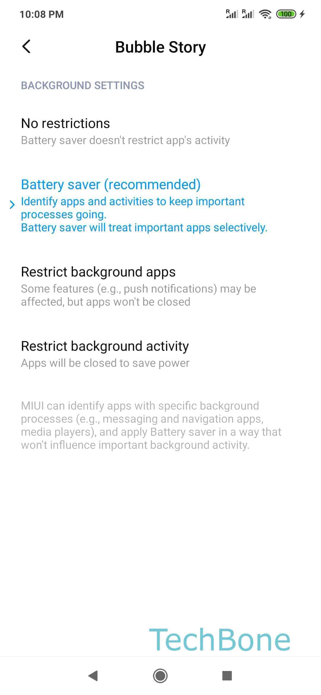 Step 5: Choose between No restrictions, Battery saver, Restrict background apps and Restrict background activity