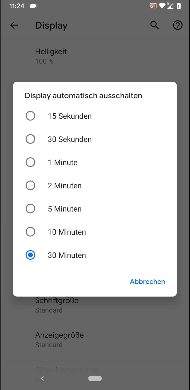 Schritt 5: Wähle die gewünschte Zeit bei der sich das Display automatisch ohne Aktivität ausschaltet