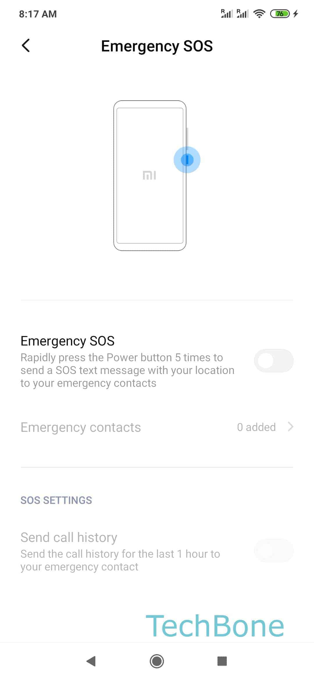Step 4: Enable or disable Emergency SOS