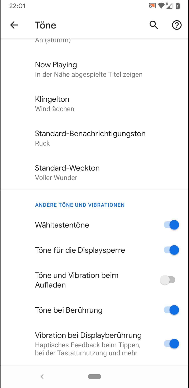 Schritt 4: Aktiviere oder deaktiviere Vibration bei Displayberührung