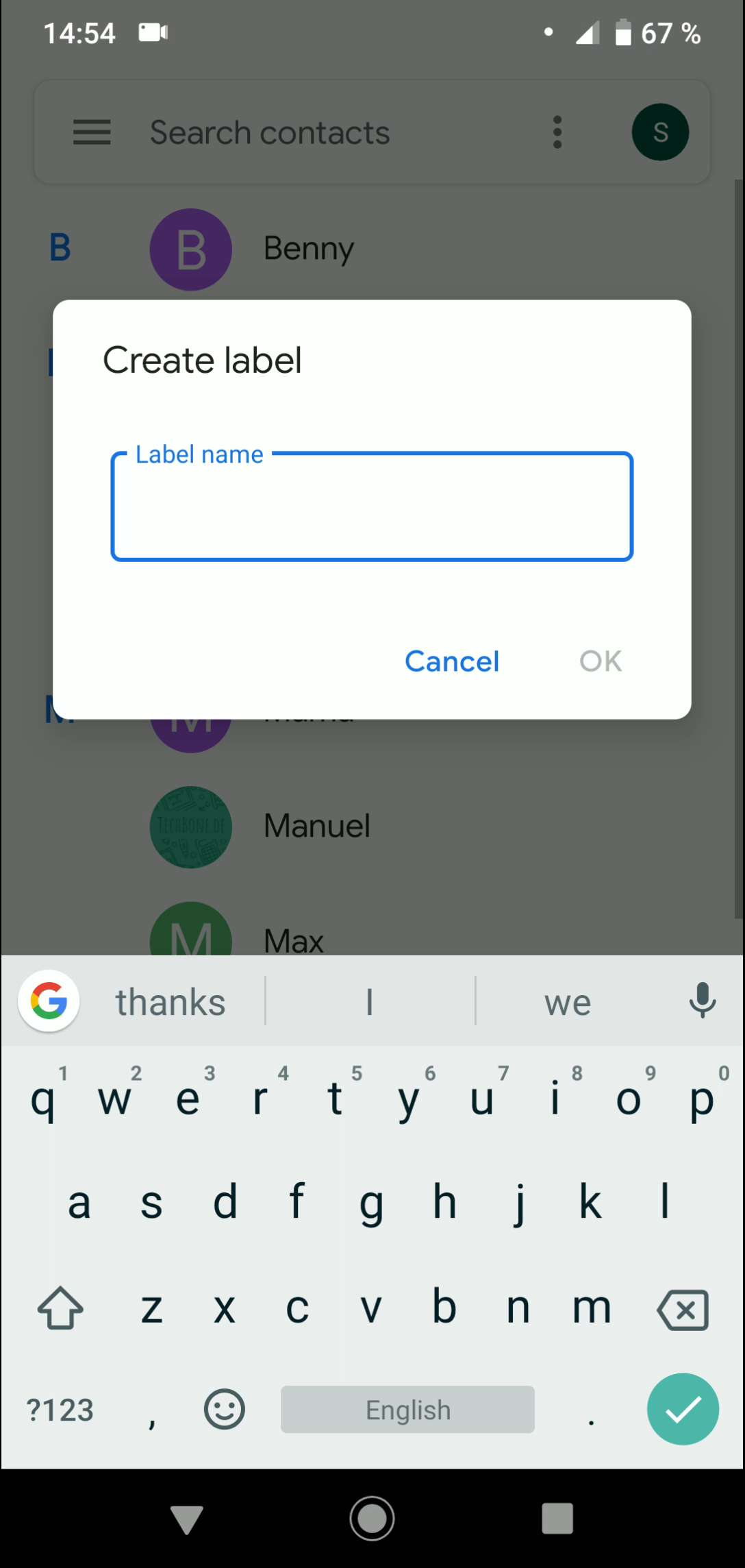 Step 4: Type in a Label name and confirm with OK