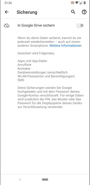 Schritt 4: Aktiviere oder deaktiviere In Google Drive sichern