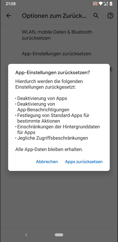 Schritt 6: Bestätige mit Apps zurücksetzen