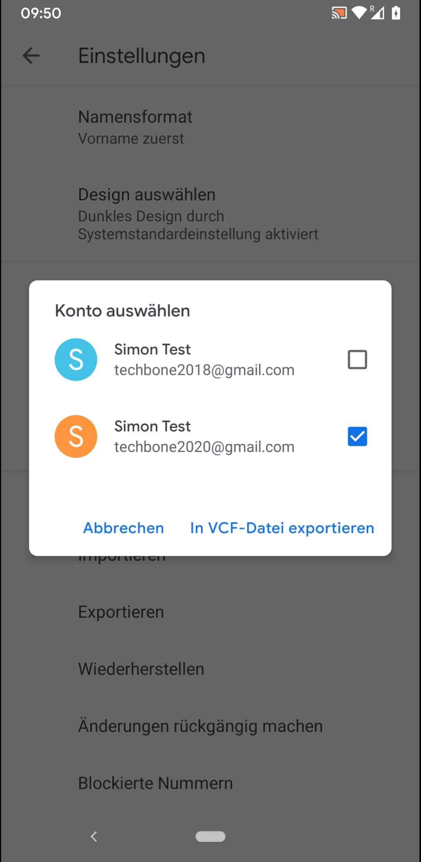 Schritt 6: Tippe auf In VCF-Datei exportieren